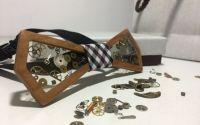 Papion transparent din lemn cu rasina piese ceas