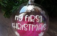 "Globuri personalizate ""My first Christmas"" 8 cm"