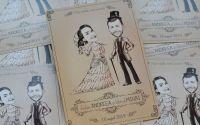 Invitatie nunta caricatura tema vintage romantic
