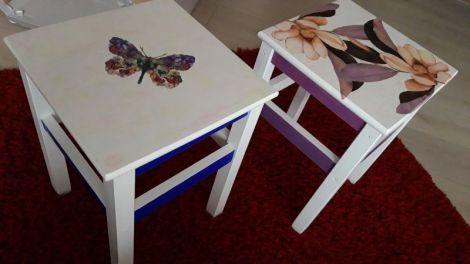 Scaune lemn decorate  pictate manual unicate