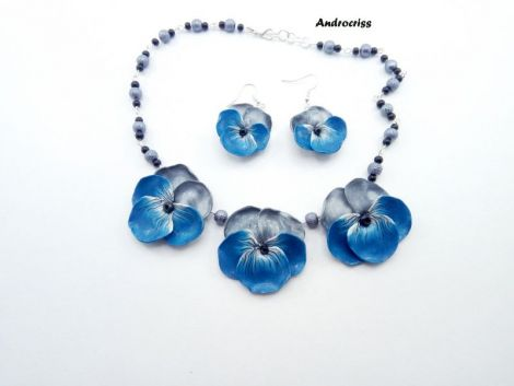 Blue pansies set bijuterii din lut polimeric