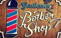 """Plachet 3D """"Barber Shop"""" din lemn"""