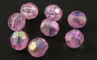 100buc margele acril rotunde fatetate Pink 6mm