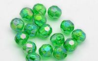 100buc margele acril rotunde fatetate Green 6mm