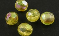 100buc margele acril rotunde fatetate Yellow 6mm