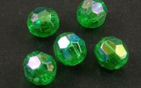 50buc margele acril rotunde fatetate Green 8mm