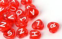 100buc inima rosie transparente litere scris alb