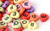 100buc inimi colorate opace litere scris negru