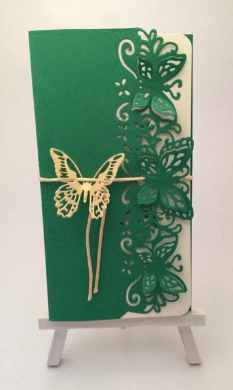 Invitatie verde+auriu
