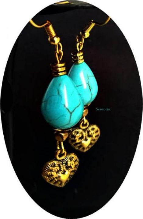 cercei aurii cu turcoaz picaturi si inimioare