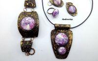 Purple stones set bijuterii din lut polimeric