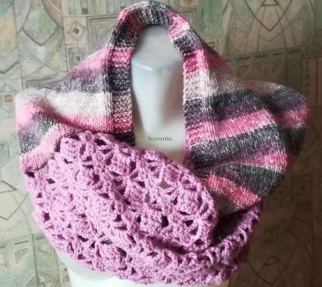 fular circular tricotat  crosetat roz si gri