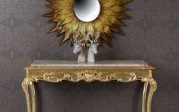 Consola din lemn masiv auriu cu blat din marmura