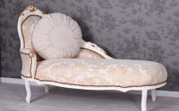 Sofa din lemn masiv alb cu auriu si tapiterie din