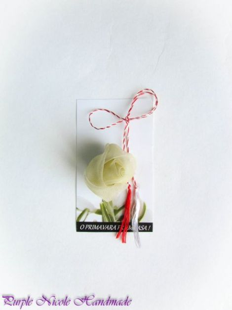 Bobocel crem - martisor boboc handmade