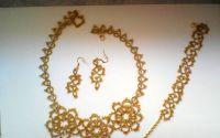 Set auriu bijuterii dantela frivolite