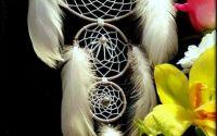 Dreamcatcher triplu cu margelute gri