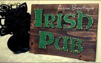 "Tablou ""Irish Pub""realizat prin tehnica String Art"