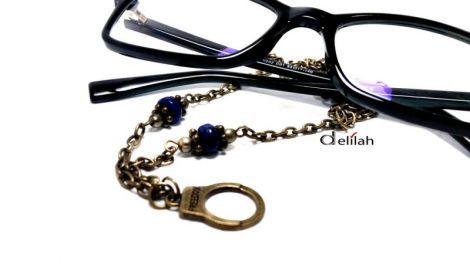 Lant suport ochelari din bronz si lapis lazuli