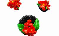 Flori de primavara rosii- Polymer Clay Jewelry Set