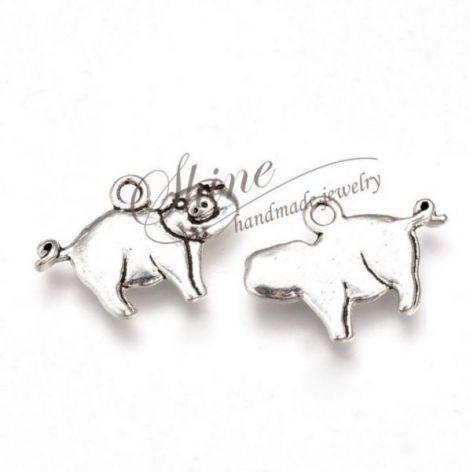 Charm porc argintiu antichizat