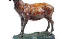 Berbec - statueta din bronz pe soclu din marmura