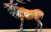 Cerb-statueta din bronz pe scolu din marmura
