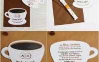 Invitatie nunta tema cafea tip ceasca de cafea