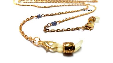 Lantisor auriu pentru ochelari cu safir