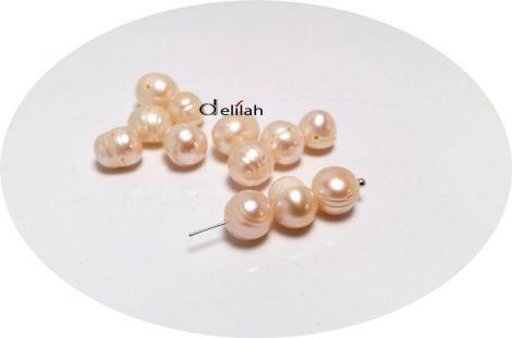 Perle de cultura bej cu striatii 7  9mm PE036