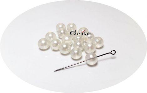 Perle de sticla albe PE023