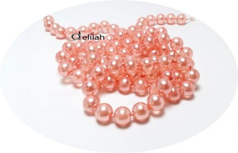Perle de sticla roz piersica PE015