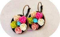 cercei cu trandafirasi multicolor
