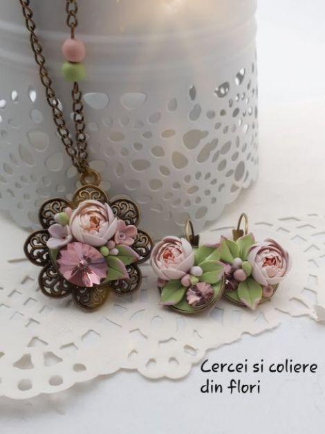 """Bujori roz fimo  """"antique pink"""""""