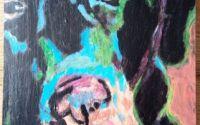 Caine tablou pictat pe lemn de fag