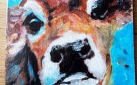 Vacuta tablou pictat pe lemn fag