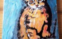 Pisicuta tablou pictat pe lemn de fag