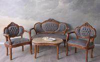 Set baroc din lemn mahon cu tapiterie gri soarece