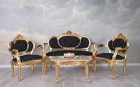 Set baroc din lemn auriu cu tapiterie neagra