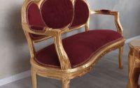 Set baroc din lemn auriu cu tapiterie rosie