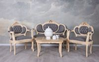 Set baroc din lemn alb cu tapiterie gri soarece