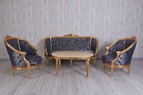 Set baroc din lemn masiv auriu cu tapiterie din ma