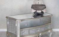 Consola TV din lemn masiv argintiu cu oglinda