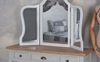 Oglinda de toaleta din lemn masiv alb