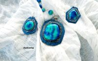 Blue and  green set bijuterii din lut polimeric