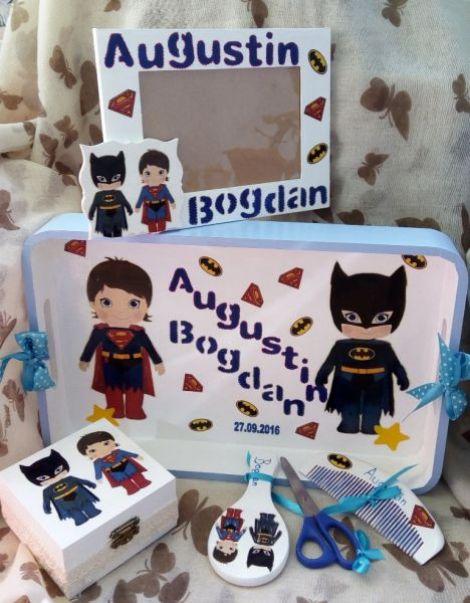 Set pentru mot cu Superman si Batman