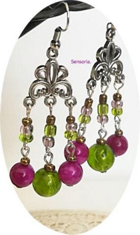 cercei candelabru cu agate fucsia si murano verde