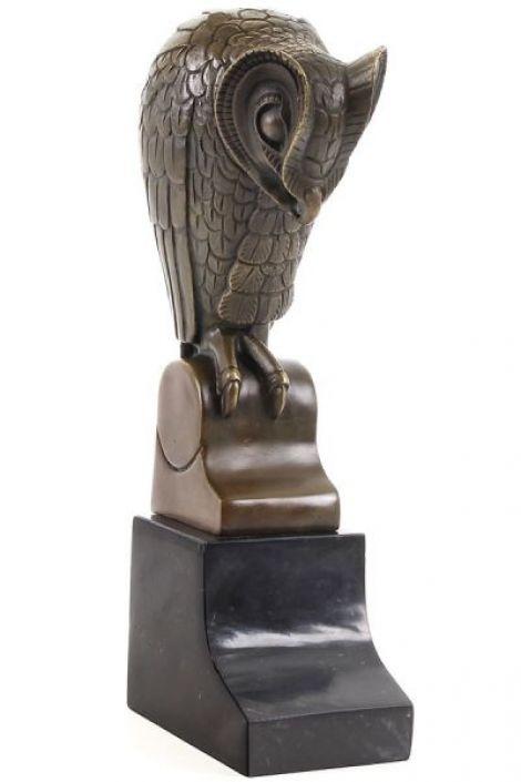 Bufnita stilizata- statueta din bronz pe soclu din