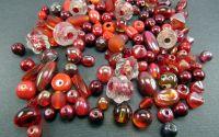 Margele sticla rosu caramiziu diverse marimi
