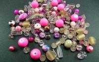Margele sticla roz si transparent diverse marimi